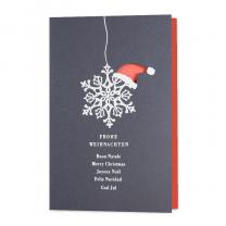 """Ausgefallene Weihnachtskarten """"Weihnachtsmütze"""" mit trendiger Weißfolienprägung und raffinierter Formstanzung"""