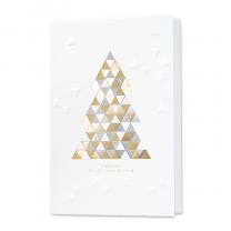 Designer-Weihnachtskarten modern gestaltet mit Dreiecken in Gold- und Silberfolien- und Reliefprägung