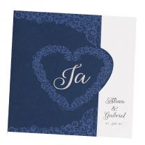Dunkelblaue Hochzeitskarten mit edler Blau- & Silberfolienprägung