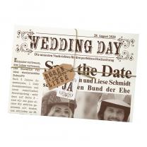 """Einladung """"Hochzeitszeitung"""" - verschlossen mit trendiger Kordel und hübschen Anhängern"""