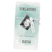 """Einladungskarten """"Katja"""" für die  Kommunion mit edler Silberfolienprägung"""