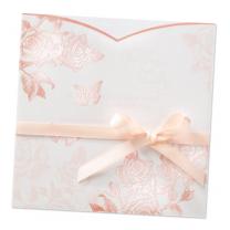 """Einladungskarten """"Rosenhochzeit"""" mit Transparentumleger, veredelt durch glänzende Folienprägung, und zarter Satinschleife"""