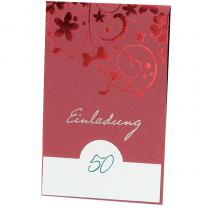 """Elegante Einladgungskarten """"Rot"""" mit edler Rotfolienprägung"""