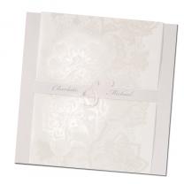 """Einladungskarten """"Silberhochzeit"""" mit edler Perlmuttfolienprägung & Transparent"""