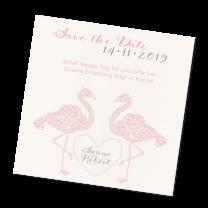 """Extravagante Save the Date Karten """"Flamingo"""" im trendigen Design"""
