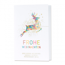 """Farbenfrohe Weihnachtskarte """"Hirsch"""" mit edler Goldfolienprägung"""