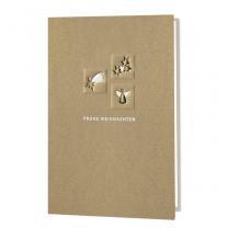 Goldene Weihnachtskarte mit edler Banderole im modernen Design
