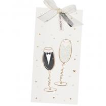 """Hochzeitseinladung """"Champagner"""" mit edler Goldfolienprägung"""