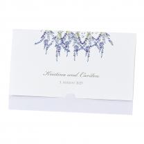 """Hochzeitseinladung """"Lavendel"""" im angesagten Taschen-Look"""