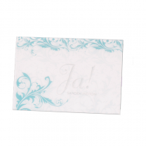 """Hochzeitseinladungen """"Türkis"""" mit eleganter Silberfolienprägung und transparentem Umleger mit festlichen Ornamenten"""