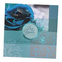 """Hochzeitseinladungen """"Blau"""" mit edler Türkisfolienprägung"""
