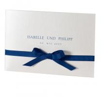 """Klassische Hochzeitseinladungen """"Blau"""" auf festlichem Metallickarton"""