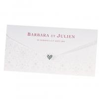 """Hochzeitseinladungen """"Elegant"""" im Taschenformat mit hübschem Strassherz"""