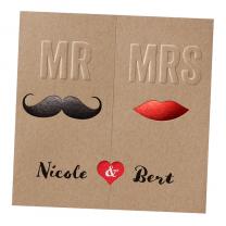 """Moderne Hochzeitseinladungen """"Mr. & Mrs."""" auf trendigen Kraftkarton mit edler Folienprägung"""