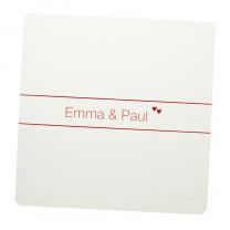 """Hochzeitseinladungen """"Rot & Weiß"""" mit edler Relief- & Rotfolienprägung"""