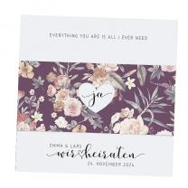 """Hochzeitseinladungen """"Vintage"""" mit hübscher Blumenbanderole"""
