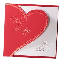 """Hochzeitskarte """"rotes Herz"""" mit edler Rotfolienprägung"""
