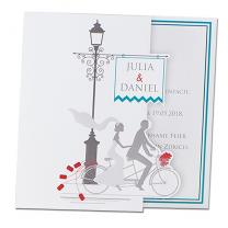 """Hochzeitskaten """"Fahrrad"""" mit festlicher Folienprägung"""