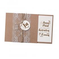 """Hochzeitskarten """"moderne Spitze"""" mit hübschem Spitzenband"""