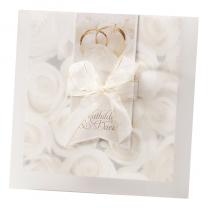 """Edle Hochzeitskarten """"Weiße Rosen"""" auf schimmerndem Metallickarton"""