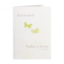 """Kirchenheft """"Schmetterling""""  auf schimmernden Metallickaton"""