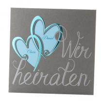 """Klassische Hochzeitskarten """"Türkis"""" auf edlem Metalickarton"""