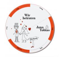 """Lustige Hochzeitskarten """"Brautpaar"""" mit trendiger Drehscheibe - der rote Hintergrund sowie die Motive sind bereits auf der Karte vorgedruckt."""