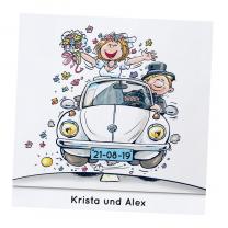 """Lustige Hochzeitseinladungen """"Comic"""" auf weißem Metallickarton"""