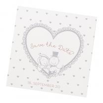 Lustige Save the Date Karten auf schimmerndem Metallickarton