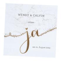 Marmorierte Hochzeitseinladungen mit edler Goldfolienprägung