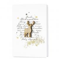 """Moderne Weihnachtskarte """"Holzhirsch"""" mit Holzapplikation & Goldfolienprägung"""