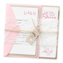 """Moderne Hochzeitskarte """"Rosa & Spitze"""""""