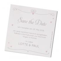 """Moderne Save-the-date-Karte """"Brautpaar"""" aus schimmerndem Metallickarton mit romantisch-verspielten Motiven"""