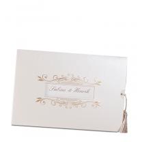 Orientalische Hochzeitseinladungen im edlen Design mit Fensterstanzung und Zierkordel im fernöstlichen Stil