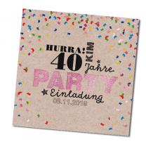 Party - Einladungen mit edler Pinkfolienprägung