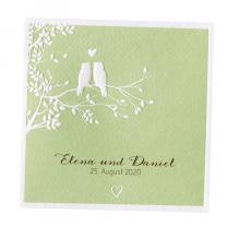 """Romantische Hochzeitseinladungen """"Eulen"""" mit hübscher Prägung"""