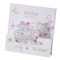 Romantische Hochzeitskarten auf weißem Metallickarton mit edler Folienprägung