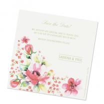 Romantische Save the date Karten mit bezauberndem Blumenmotiv auf modernem Aquarellkarton