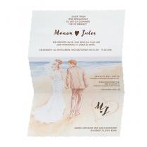Romantischer Hochzeitsbrief mit hübschem Strandmotiv