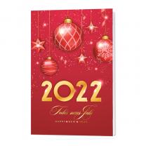 Rote Neujahrskaren im weihnachtlichem Stil