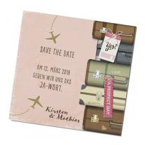 """Save the Date Karten """"Flitterwochen"""" in feschem, trendigen Design"""