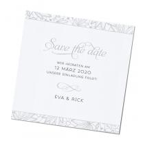 """Save-the-date-Karten """"Silber"""" auf schimmerndem Perlweißpapier"""