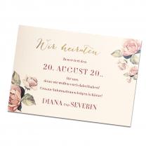 """Save-the-Date-Karten """"Vintage"""" auf cremefarbenem Designkarton mit edler Goldfolienprägung und bezauberndem Rosenmotiv"""