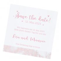 """Save the Date Karten """"Rosa Marmor"""" auf weißem Metallickarton"""