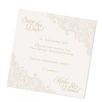 "Save the Date Karten ""Spitzenoptik"" im romantischen Design"
