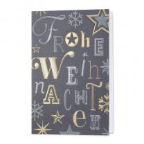Silbergraue Weihnachtskarten mit tanzenden Buchstaben und Sternen in Gold- und Silberfolienprägung