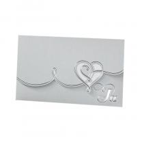 Silberne Hochzeitseinladungen mit extravaganter Stanzung und edler Silberfolienprägung