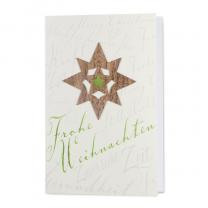 Stilvolle Weihnachtskarten mit glänzender grüner Folienprägung und extravaganter Echtholz-Applikation