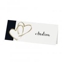 """Tischkarten """"Schwarze Eleganze"""" mit goldenen Herzen."""