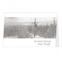 """Stimmungsvolle Trauerkarten """"Bergkreuz"""" mit Bergmotiv"""